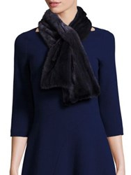 Lafayette 148 New York Cashmere And Mink Fur Trim Scarf Platinum Galaxy Blue