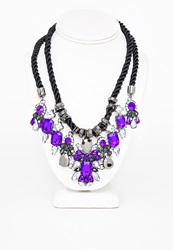 Missguided Rope Gem Statement Necklace