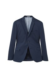 Mango Slim Fit Poplin Suit Blazer Navy