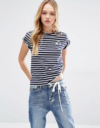 Daisy Street T Shirt With Rainbow Embroidery In Stripe Navy Stripe Blue