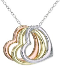 Giani Bernini Tri Tone Floating Heart Pendant Necklace In Sterling Silver Gold Plated And Rose Gold Plated Sterling Silver Only At Macy's Tri Tone