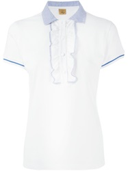 Fay Frill Trim Polo Shirt White