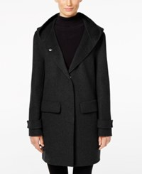 Jones New York Double Faced Hooded Wool Walker Coat Black