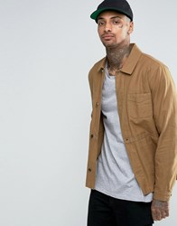 Asos Military Style Jacket In Tobacco Tobacco Beige