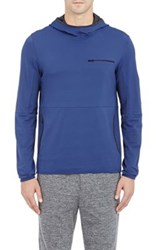 Theory Men's Tech Pique Dox Hoodie Blue Navy Blue Navy