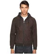 Vince Leather Zip Up Hoodie Espresso Brown