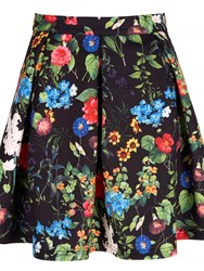 Mela Loves London Floral Scuba Skater Skirt Black