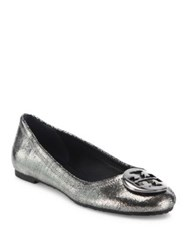Tory Burch Reva Sequin Leather Ballet Flats Pewter