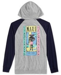 Maui And Sons Men's Graphic Print Hoodie Heather Grey