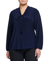 Melissa Masse Long Sleeve Front Tie Blouse Navy