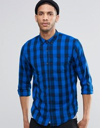 Pull And Bear Pullandbear Check Shirt In Blue Black In Regular Fit Blue