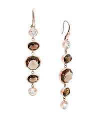 Michael Kors Smoky Topaz And Cubic Zirconia Rose Goldtone Drop Earrings