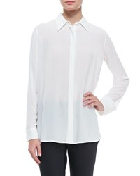 The Row Long Sleeve Collared Blouse Black White