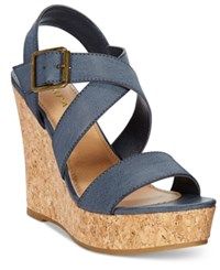 Rampage Happy Platform Wedge Sandals Women's Shoes Navy