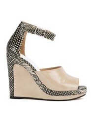Maison Martin Margiela Snakeskin Print Wedge Sandals Nude And Neutrals