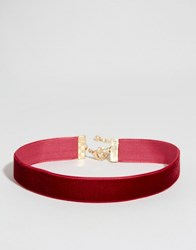 Asos Velvet Choker Necklace Burgundy Red