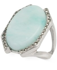 Kenneth Cole Silver Tone Crystal Oval Stone Ring