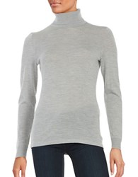Lord And Taylor Merino Wool Turtleneck Sweater Platinum Heather