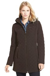 Women's Laundry By Design Corduroy Trim Hooded Quilted Coat Espresso