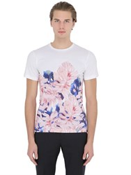 Larusmiani Floral Printed Cotton Jersey T Shirt