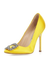 Manolo Blahnik Hangisi Satin Crystal Toe Pump Yellow