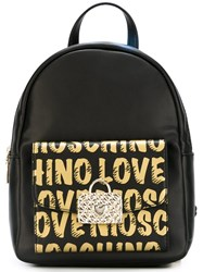Love Moschino Logo Print Backpack Black