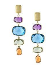 Effy Mosaic Amethyst Topaz Citrine And 14K Yellow Gold Drop Earrings