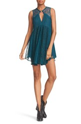 Free People Women's Don't You Dare Lace Shift Dress Green Combo