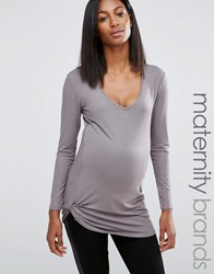 Noppies Maternity Metallic Long Sleeve Top With Ruched Detail Grey
