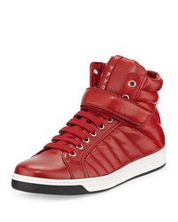Prada Quilted Leather High Top Sneaker Red