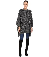 Mcq By Alexander Mcqueen All Over Fringe Poncho Black White Women's Clothing