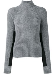 Haider Ackermann Panelled Sleeve Ribbed Jumper Grey