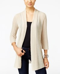 Jm Collection Petite Open Front Textured Cardigan Only At Macy's Stone