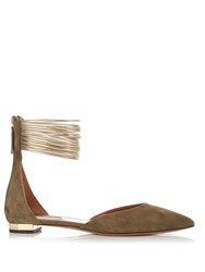 Aquazzura Hello Lover Point Toe Suede Flats Khaki