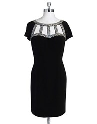 Hailey Logan Beaded Cutout Neck Dress Black
