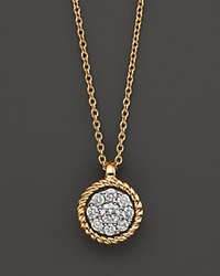 Bloomingdale's Diamond Cluster Pendant In 14K Yellow Gold .20 Ct. Tw. No Color