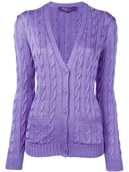 Ralph Lauren Purple Cable Knit Button Down Cardigan Pink And Purple