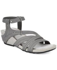 Bare Traps Belina Ankle Strap Wedge Sandals Women's Shoes Dark Grey