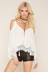 Forever 21 Eyelash Lace Open Shoulder Top White