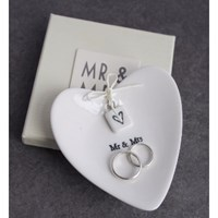 Posh Totty Designs 'Mr And Mrs' Ceramic Ring Dish