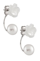Mother Of Pearl Flower And 5.5 8.5Mm Freshwater Pearl Earrings White