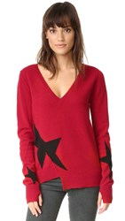 Pam And Gela Star Intarsia Sweater Red