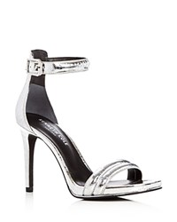 Kenneth Cole Brooke Metallic Embossed High Heel Sandals Silver