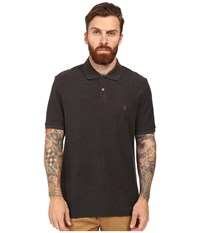 Original Penguin Daddy Polo Dark Charcoal Heather Men's Short Sleeve Pullover Black