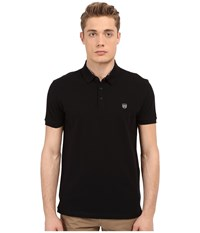 The Kooples Sport New Shiny Pique Polo Black White Men's Short Sleeve Knit