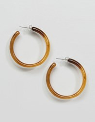 Monki Two Tone Hoop Earring Tortoise Brown