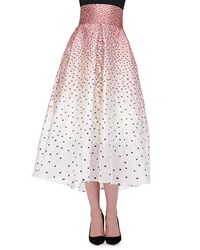 Lela Rose Ombre Embroidered Polka Dot Skirt Blush