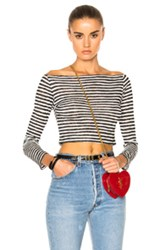 Catherine Fulmer Long Sleeve Crop Top In Black White Stripes Black White Stripes