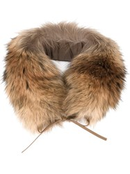 Woolrich Racoon Fur Ring Scarf Nude And Neutrals