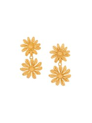 Kenzo Vintage Daisy Clip On Earrings Metallic